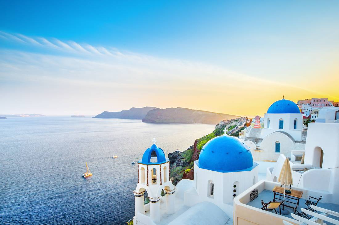 The blue domes of Santorini, Greece