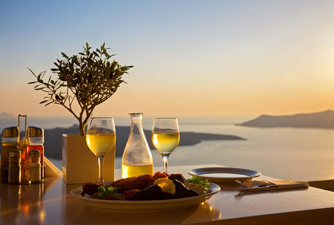 Mediterranean meal with ocen view